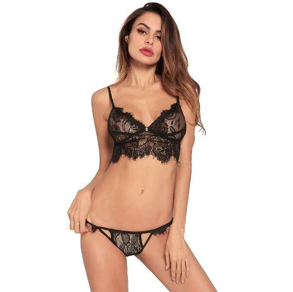 Europa e nos Estados Unidos novas senhoras sexy lingerie cor sólida doce alça de renda das mulheres de três pontos envolto calcinha terno