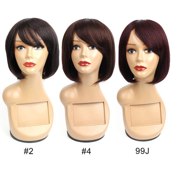 Perruques de cheveux humains chinois de couleur naturelle, brun foncé, vin foncé Bourgogne 99j Straigth cheveux perruques Capless non dentelle