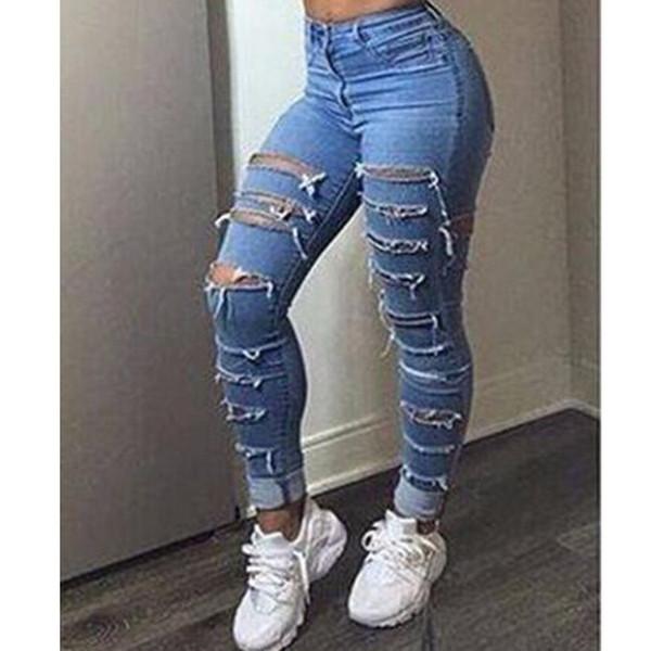 2019 Women Designer Pantalones Holes Ripped High Waist Light Blue Jean Pants Skinny Slim Fit Trousers From Malewardrobe, $67.0   DHgate.Com