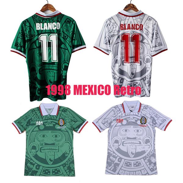 1998 MEKSIKA RETRO VINTAGE BLANCO Tayland Kaliteli futbol formaları üniforma Futbol Formaları gömlek Nakış Logosu camiseta futbol