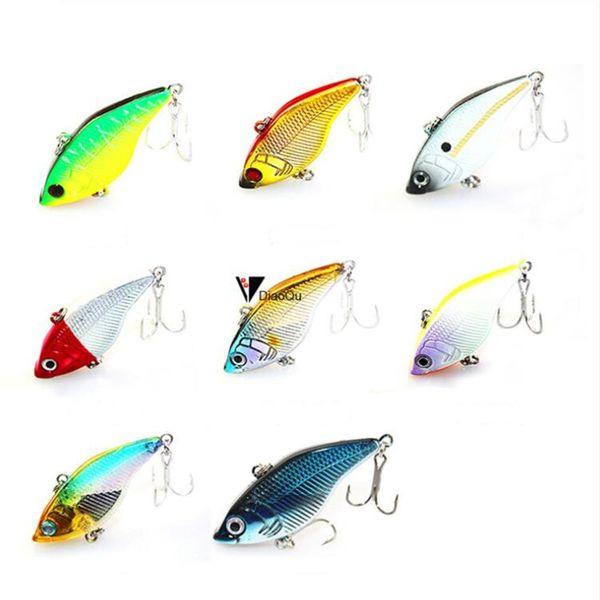 8PCS/Lot Full Swimming Layer Fishing Lure 5cm 14.5GR Vibration Fake Baits Lifelike Hard Lure with Double Treble Hook for Freshwater