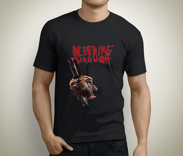 T-Shirt Uomo Bleeding Through Metalcore Band manica corta nera Taglia S To 3XL Basic Tops Print T Shirt Man Short