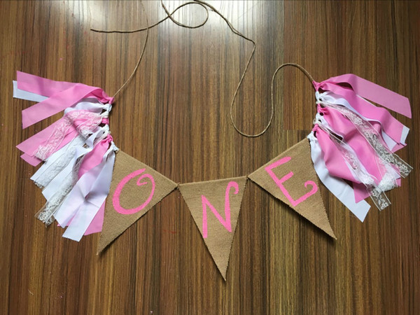 Pink Princess First Party Highchair Bunting Painted one In Burlap Baby girl Room garland kids one year birthday party decoration