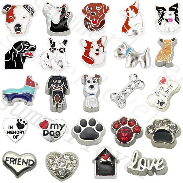 24pcs Love my dog Paw Bone floating charms For memory charm locket Dog Lover Gift