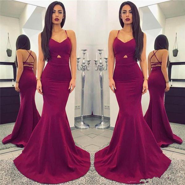 New Designer Cheap Simple Plum 2018 Long Mermaid Prom Dresses Sexy Spaghetti Straps Backless Floor Length PROM DRESSES vestidos