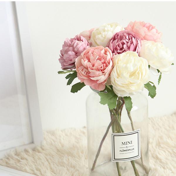 Rosas de té de seda Ramo de la novia para el hogar de la boda de Navidad decoración de Año Nuevo plantas falsas flores artificiales
