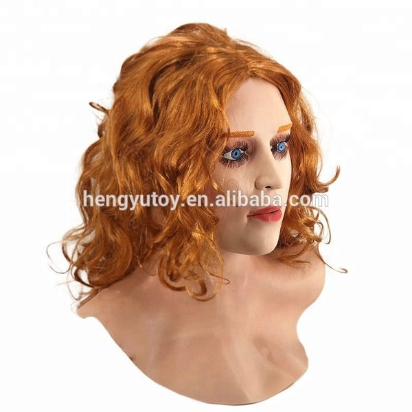 Maschera sexy del lattice della maschera del lattice della ragazza del film realistico femminile adulto della donna con i capelli scarlatti