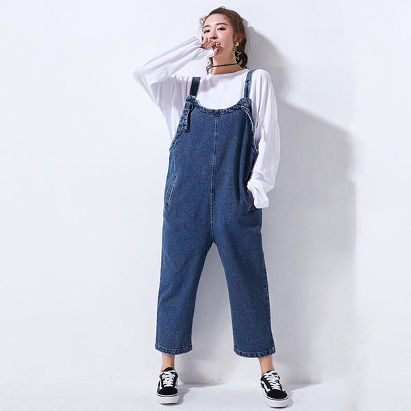 LANMREM High Quality 2018 New Fashion Casual Denim Sling Drop Crotch Jumpsuit Loose Female's Loose Ankle-Length Pants YE449