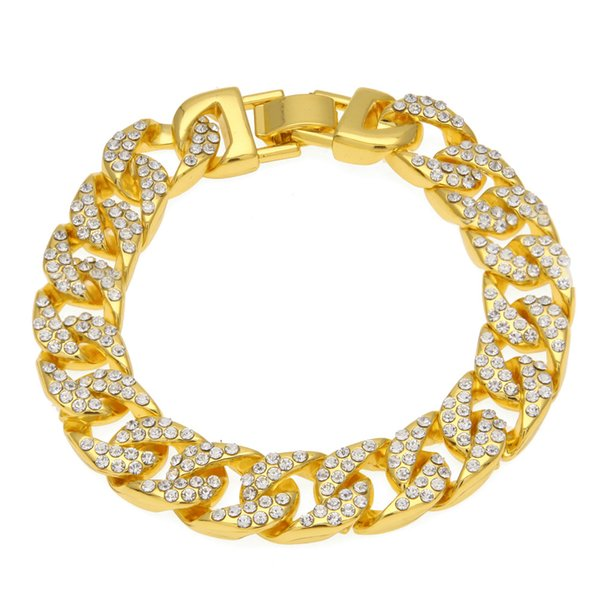 New Cuban Link 1.3*21cm Mens Zicron Iced Out Chain Hip Hop Jewelry Designer Bracelet Mens Stainless Steel Jewelry Bangles Bracciali