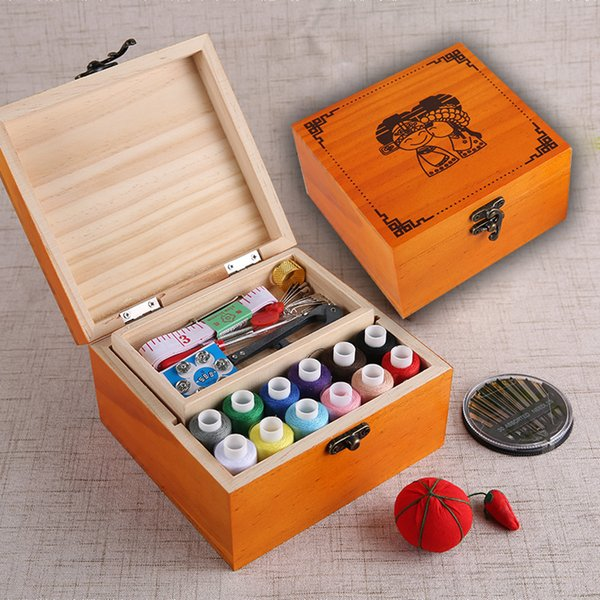 Multifunction Wood Box Sewing Kit Needle Tape Scissor Threads Sewing Box For Home & Travelling