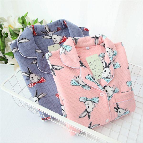 Male Winter Fresh Blue rabbit pajamas sets 100% thicken cotton Winter keep warm simple long-sleeved mens homewear sleepwear
