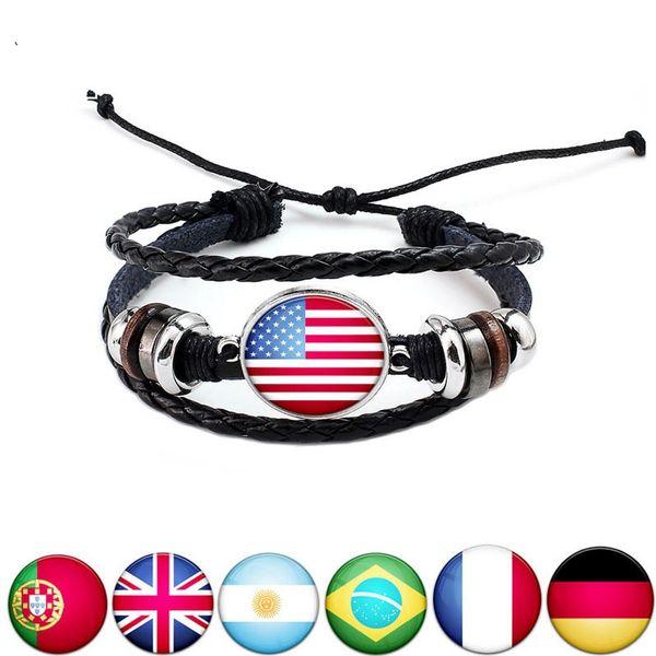 World Cup Nationalflaggen Charm Armband Bangles Handmade Armband Fans Leder Seil Andere Event Party Supplies 20 Arten T1I617