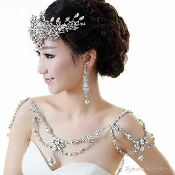 Stunning Cheap Shoulder Chain Hot Sale Fashion Noble Crystal Bridal Necklace Temperament Beading Wedding Jewelry Bridal Accessories