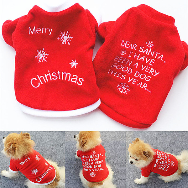 Cute Pet Dog Christmas Gifts Clothes Red Dog Apparel Polar Fleece Clothing T shirt Jumpsuit Puppy Outfit Pet Supplie DHL Free