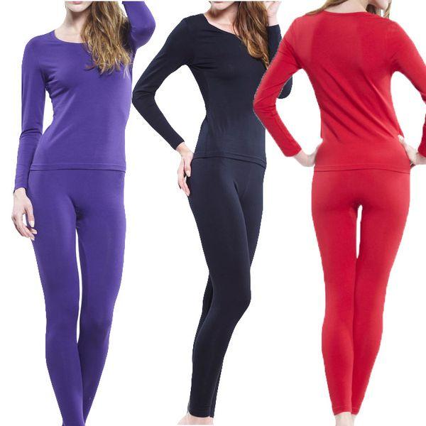 2018 printemps et automne sous-vêtements thermiques pour femmes haut élastique long johns Ensemble de costumes minces modal, plus la taille XL 3XL 4XL 5XL 6XL