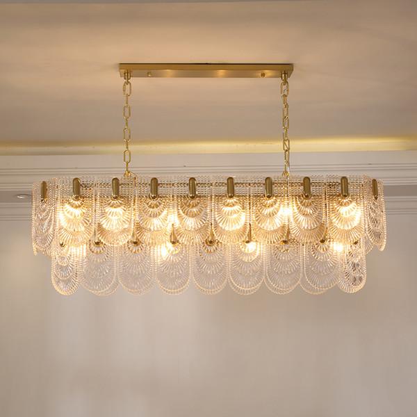 European-style rectangular crystal glass restaurant led chandelier designer art light luxury model room dining room lamps