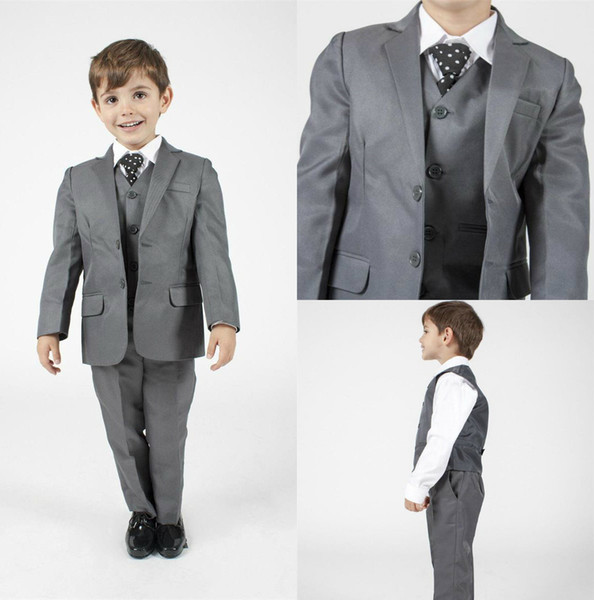 Handsome Boy's Formal Occasion Tuxedos Little Men Suits Grey Children Kids Wedding Party Tuxedos Boy's Formal Wear (Jacket+pants+vest)