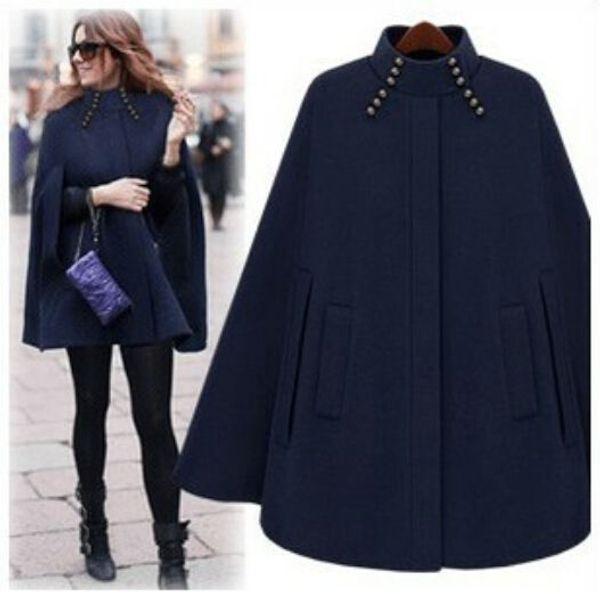 Womens Winter Warm Cloak Cape Batwing Giacca in lana con poncho da donna Cappotto parka Outwear