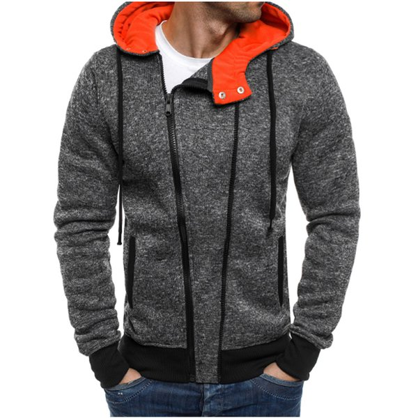 2018 New autumn Fleece Hoodies Men Fashion Solid Sweatshirts Zipper Cardigan Cotton Sportswear Slim Fit Men's Tracksuit XXL