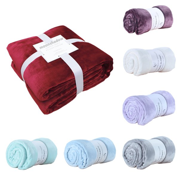Soft blanket flannel aircraft sofa bed office baby blanket towel travel fleece portable car travel solid color bed cover