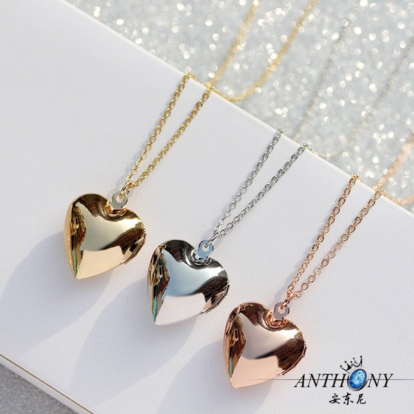 best selling Shiny Heart Pocket Watches Necklace Photos Open Close Fashion Floating Pendant Love Necklace For Women Memory Glossy Lockets Jewelry