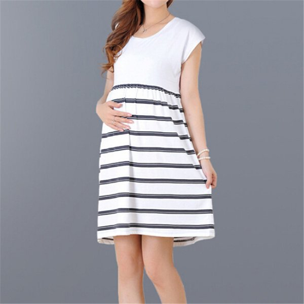 1PC Maternity Nursing Dress Casual Stripe Summer Pregnant Dresses for Pregnant Mother Home Clothes Short Sleeve
