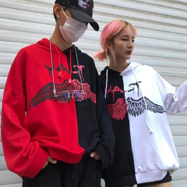 Spring Fashion High Street Women Men Clothing Cool Doodle Wing Pattern Print Male Female Hoodies Full Sleeve Couple's Sweatshirt