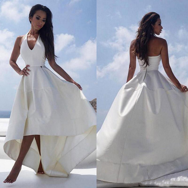 get new cheap best sell Discount 2018 White Satin High Low Beach Wedding Dresses Halter V Neck Sexy  Backless Reception Dress For Women Cheap Summer Bridal Party Gowns Red ...
