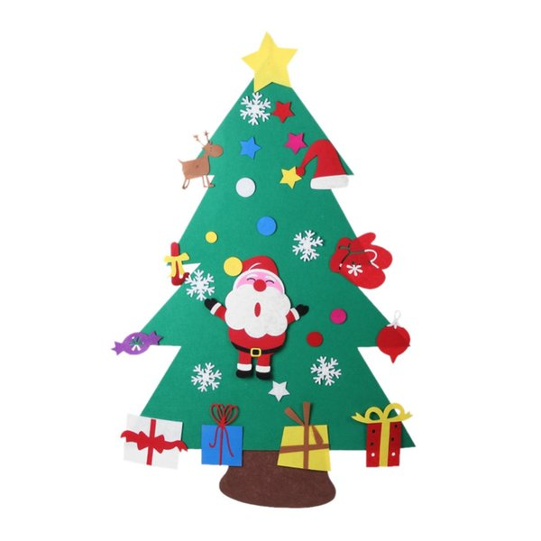 Santa Claus Christmas Gifts for 2018 Kid DIY Felt Christmas Tree with Ornaments New Year Decoration Door Wall Hanging Decoration