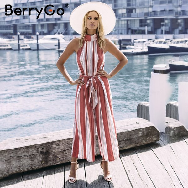 wholesale Halter backless red stripe sexy jumpsuit romper Summer bow sleeveless long overalls Elegant beach playsuit women outfit