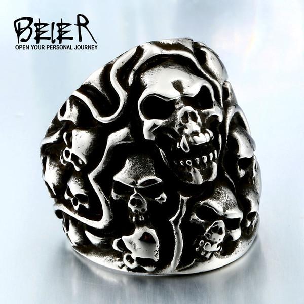 Nuovo negozio Dropshipping Biker Skull Ring per uomo acciaio inossidabile unico Punk Men Cool Vintage buon gioielli Lukky BR2012