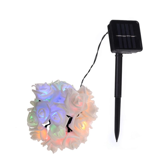 Solar Outdoor Rose Flower String Lights Lampada Lamp Luminaria Light for Wedding Xmas Light New Year Home Decoration Wholesale Dropship
