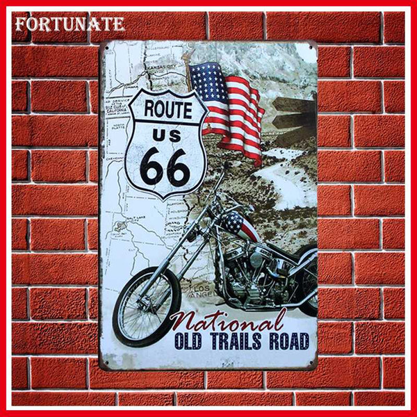 Hot Motorcycle Route 66 Retro Sign Metal Signs Home Decor Vintage Tin Signs Pub Vintage Decorative Plates Metal Wall Art Plaques
