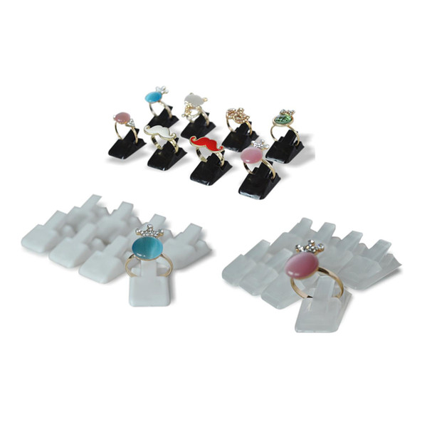 Wholesale 200Pcs Mini Plastic Frosted Jewelry Display Holder Ring Decoration Stand Ring Storage Organizer Holder Clip Rack 3 Color Available
