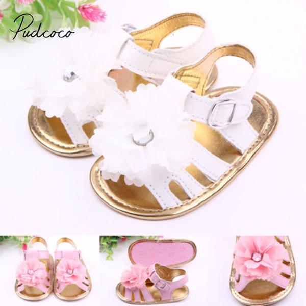 Sole Brand Sandals Girls Crib Shoes 0-18M Infants Baby Flower Shoes Newborn Flower New Summer Toddler 2018 Baby Prewalker Big