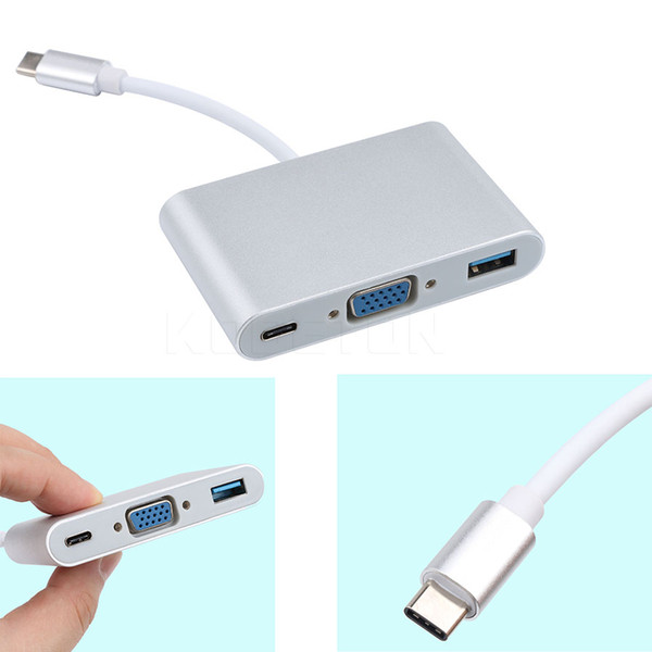 Kebidumei USB 3.1 Type-C To VGA/ USB3.0/ Type C Adapter Male To Female Converter Hub Charging Port For MacBook