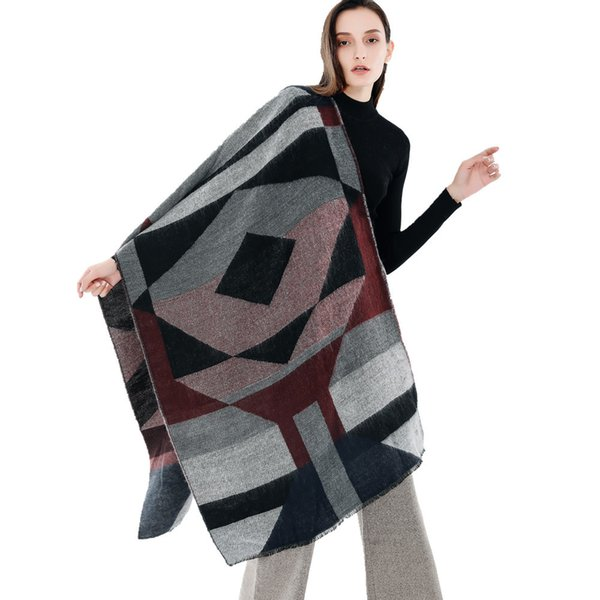 Wholesale NEW 2018 autumn and winter New color matching stripes double-sided imitation cashmere scarf ladies long scarf 6 colors for choose