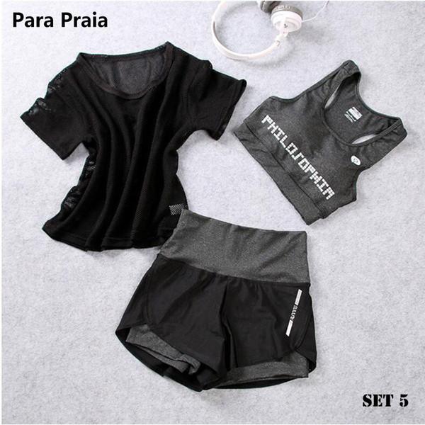 Taille haute trois pièces de yoga set vêtements de sport pour les femmes soutien-gorge de sport vêtements de sport femmes shorts de sport gym workout crop top