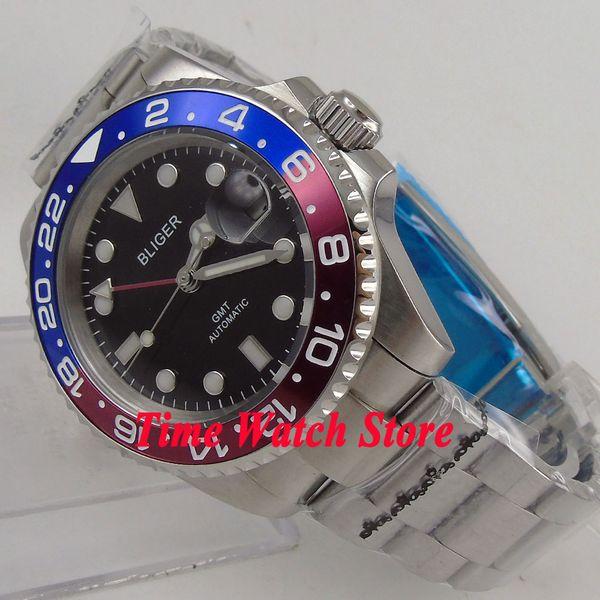 40mm Bliger black dial luminous sapphire glass date window GMT Automatic movement Men's watch 175