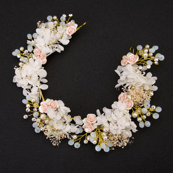 European bride headband Photo studio handmade wedding hair band crystal hair comb jewelry wedding head flower bride hair accessories