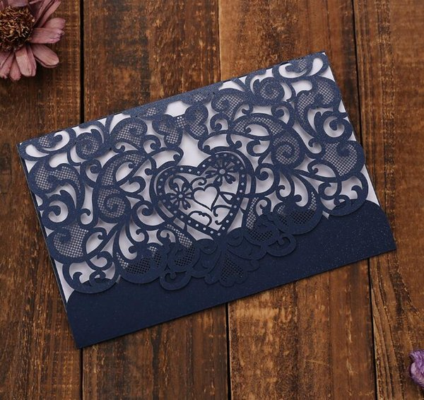 Free Shipping Colorful Laser Cut Pocket Wedding Invitation Suites Customization Invites With Envelope Wedding Accessory Black Inner