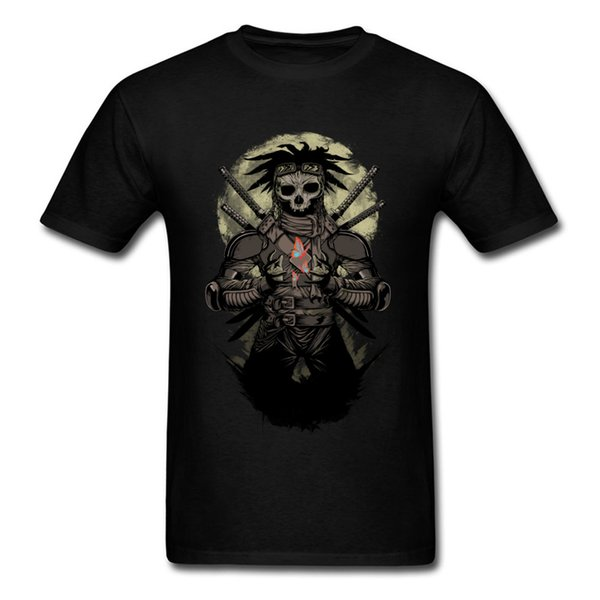 Gentle Samurai Skull Butterfly Printed Male Summer T-shirt Black Short Sleeve Retro Style Tops Tees Men's Presents