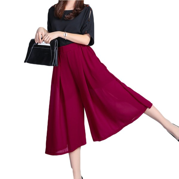 2017 New Summer Fashion Women Solid Wide Leg Loose Chiffon Dress Pants Female Casual Skirt Trousers Capris Culottes 17-30E
