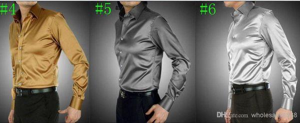 Wholesale-Wholesale New Arrival 21 Colors Elastic Silk like Satin Men Wedding Shirt Groom Shirts Wear Bridegroom Slik Shirt For Men