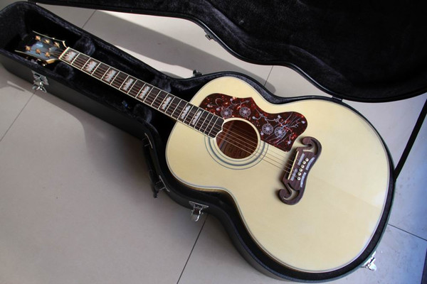 top popular Free Hardcase sj 200 Acoustic Electric Guitar Made Of Solid Maple Fir Top, High Quality In Natural 120130 2020