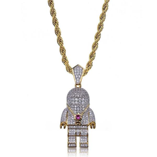 2018 new fashion design robot Hot personality astronaut pendant necklace miniature zircon hip-hop man tide Necklace