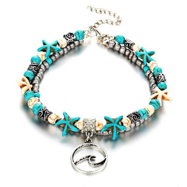 Bulk Lots Turquoise Sea Star lega bracciali alla caviglia argento catena piede gioielli in acciaio inox decorazioni della festa nuziale regalo di compleanno giorno