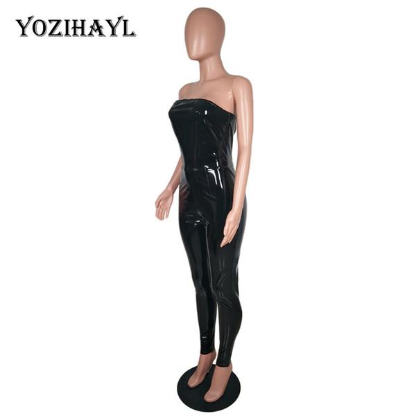 Yozihayl Womens Sexy Kunstleder Jumpsuit Off Schulter Bodycon Sleeveless PU Overall Zipper Zurück Club Party Trägerlos