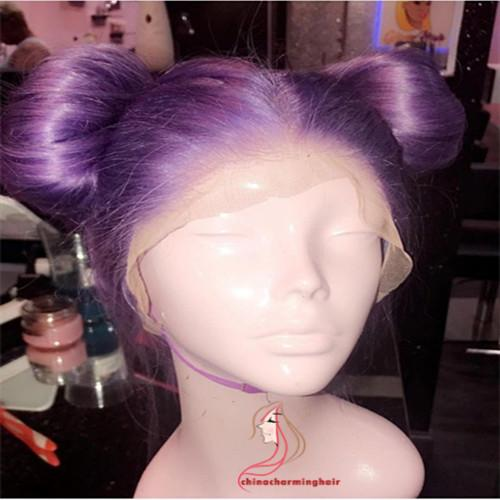 Purple straight Human hair Wigs Full Lace Wig on sale colored purple lace front wigs for black women