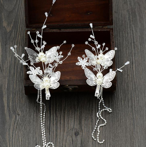 2018 new bride wedding butterfly hairpin wedding dress accessories hyper Sen female photo studio shooting accessories